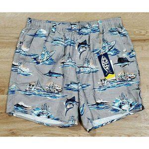 Aftco Mens Boatbar Gray Swim Trunks L NWT